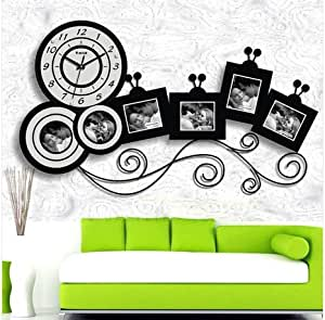 wanduhr design mederne funk wohnzimmer gestalten pendeluhr bilder bilderrahmen schwarz. Black Bedroom Furniture Sets. Home Design Ideas