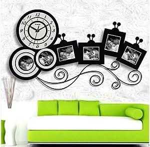 Horloge murale moderne design grand cuisine pendule photos cadre photo noir blanc - Grande horloge murale moderne ...