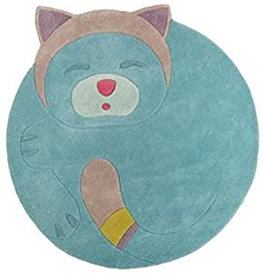 Moulin Roty - Tapis en laine rond turquoise chat Les pachats (125 x 110 cm) - Turquoise