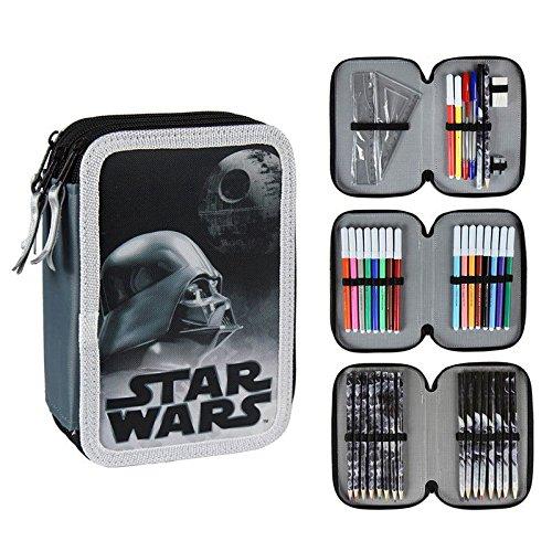 Star Wars 2700-199 Astuccio Triplo, 3 Scomparti, Pennarelli, Pastelli, Accessori Scuola 42 pezzi, Poliestere, Multicolore