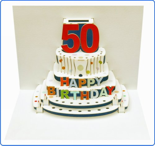 50th Birthday - Stunning Laser cut Pop Up Cake Card