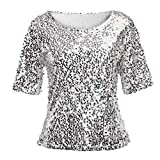JURTEE 2019 Damen Bluse, Pailletten Sparkle Cocktail Party Lässige Crop Tops Shirt Oberteile Damen Elegant(Large,Silber)