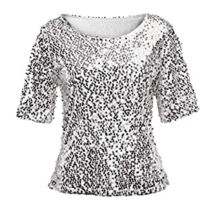 Linkay T Shirt Damen Langarm Bluse Tops Pailletten Oberteile Mode 2019...