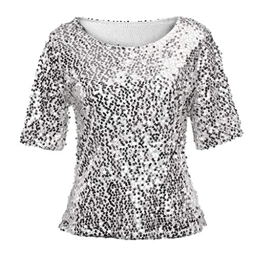 JURTEE 2019 Damen Bluse, Pailletten Sparkle Cocktail Party Lässige Crop Tops Shirt Oberteile Damen Elegant(Medium,Silber)