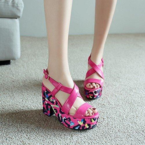 TAOFFEN Femmes Mode Peep Toe Sandales Bloc Talons Hauts Plateforme Slingback Chaussures De Boucle Rose Rouge