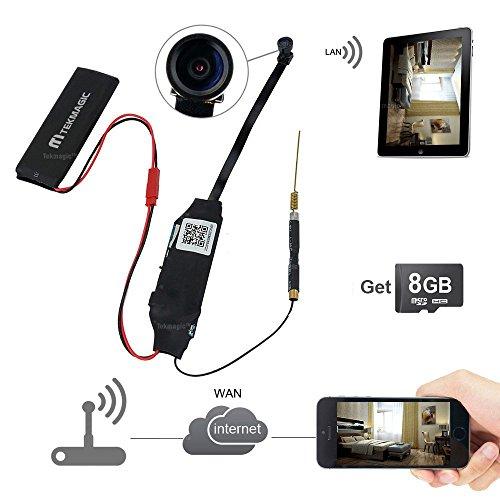 TEKMAGIC 8GB 1080P HD Registratore Microtelecamera Spia Nascoste Wifi Senza Fili per Videosorveglianza Remota con iPhone Android Smartphone Registrano 24 ore