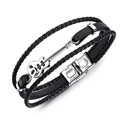 Winslet Vintage Leder geflochten Armband 3 Style Herren kleine Gitarre Bronze Legierung Schnalle Armband schwarz braun (Kleine Gitarre) -