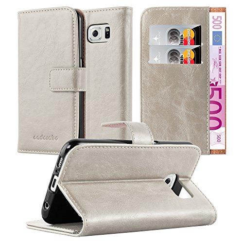 Preisvergleich Produktbild Cadorabo Hülle für Samsung Galaxy S6 - Hülle in Cappucino BRAUN – Handyhülle im Luxury Design mit Kartenfach und Standfunktion - Case Cover Schutzhülle Etui Tasche Book