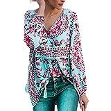 Manadlian Mode Damen V-Ausschnitt Drucken Bandage Chiffon Lange Ärmel T-Shirt Bluse Blau Tops Frühling Herbst Winter