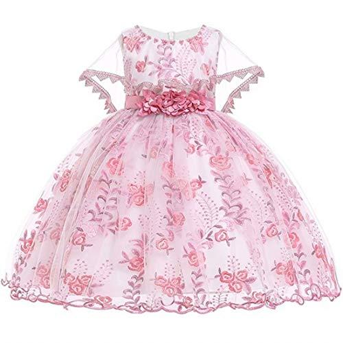 Sunny Andy mädchen Kleider Hochzeit Brautjungfern blumenmädchen Partykleid Festzug Prinzessin Elegante Kinder Kleider tüll Abschlussball Knielang schulterfrei(Dusty Rose, 130) -
