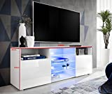 T38-146cm - Cabinet Media Center TV Console Stand Entertainment Furniture Modern Shelf LED (T38-146cm / BB, multicolour LEDs with remote)