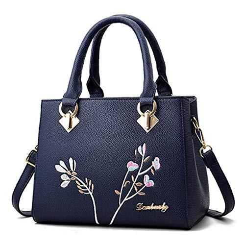 XHHWZB Handschellen Mobile Lady Einfache Schulter Messenger Bag, Stickerei, Metall-Reißverschluss, kann als Geschenk für einen Liebhaber gegeben Werden (Color : Blue)