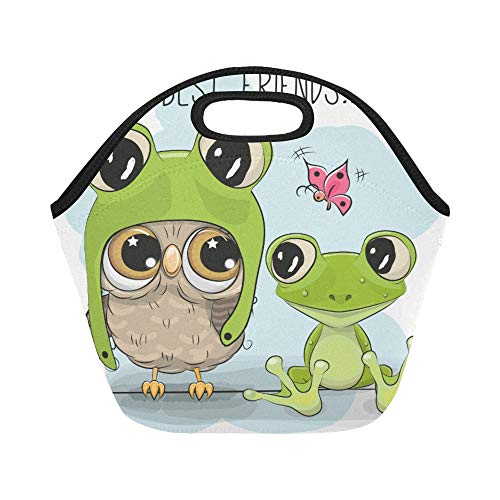 Isolierte Neopren-Lunchtasche, süße Cartoon-Eule in Froschmütze und Frosch, groß, wiederverwendbar, für Brotdosen im Freien, Arbeit, Büro, Schule