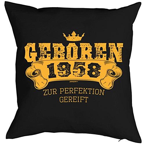 (Veri 1958 geboren zum 60. Geburtstag Geschenk 1958 Jahrgang für Sie und Ihn Mann Frau Deko Kissenbezug GEBOREN 1958 Bedruckt Motiv Print Kissenhülle 40x40 cm :)