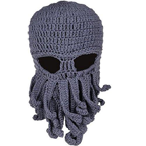 ustige Oktopus Strickmütze Bartmütze Stickmütze Häkeln Wollmütze Halloween Maske Gesichtsmaske (Grau) (Halloween Lustige Masken)