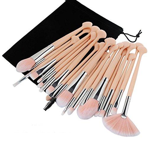 Keepwin Make Up Brush Ensemble complet, 20pc maquillage cosmétique luxe Blush brosse à dents Ombre brosses kit avec sac en flanelle (Beige D)