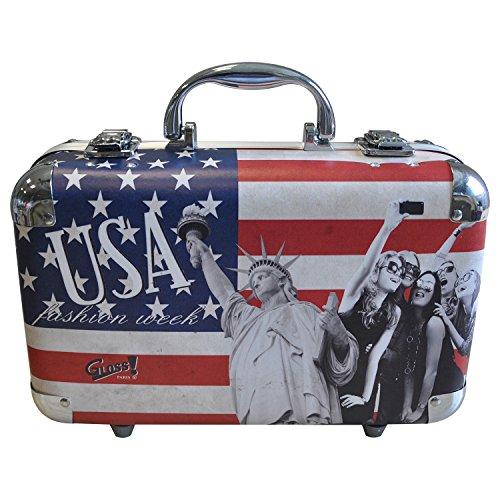 Gloss! 814-USA1 Valigetta Trucco, USA Fashion Week, 64 Pezzi, Blu
