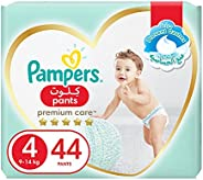 Pampers Premium Care Pants, Size 4, Maxi, 9-14 kg, Jumbo Pack, 44 Diapers