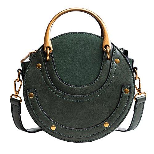 Misonz Runde Handtasche aus Kalbsleder mit Ringen, aus PU-Leder, Damen, grün, Größe S -