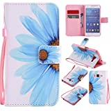 Nancen Samsung Galaxy Grand Prime SM-G530 G531F (5 Zoll) Hülle/Handyhülle, Painted Blume PU Leder Tasche Schutzhülle Case Lederhülle Flip Cover mit Standfunktion [Blaue Blumen]
