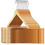 ZOBER Non-Slip Wooden Coat Hangers - Pack of 20 Strong Quality Clothes Hangers
