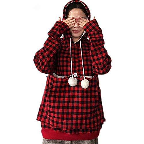 Damen Hoodie Langarmshirts Kapuzenpullover Sweatshirt Oberteile,Hoodies Teenager Mädchen,Frau Lange Ärmel Plaiddruck Samt Hoodies Sweatshirt Top mit Großen Taschen Tunika Outwear (Samt-tunika Ärmel Lange)