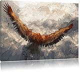 Adler Bild auf Leinwand, XXL riesige Bilder fertig gerahmt mit Keilrahmen. Kunstdruck auf Wandbild mit Rahmen. Günstiger als Gemälde oder Ölbild, kein Poster oder Plakat., Format:60x40 cm