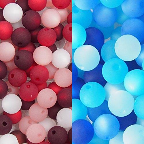 2er Set mit je 20 Stück echte original Polarisperlen Perlenmix Perlenmischung Perlen Perlenset 8 mm, blau, bordeaux-rot-rosa-weiß, Perlen aus deutscher Produktion