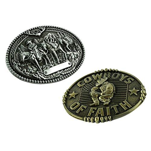 Baoblaze 2pcs Hebilla de Cinturón de Vaquero Occidental Aleación de Zinc para Hombres - Estilo 3