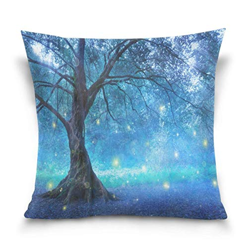 Xukmefat Forest Tree Cotton Pillowcase 18 X 18 Inches Twin Sides, Fairy Tree Mystic Forest Pillow Case Sham Cover Protector Decorative for Home Hotel Couch Ded
