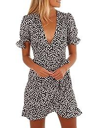 547e05864943 LUCKDE Damen Sommerkleid mit V-Ausschnitt, Jerseykleid Strandkleid Tag Dots  Leichtes Kleid mit Pünktchen