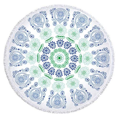 Sticker Superb Dick Runden Strandtuch Decke - Kreisförmig Mandala Bohemien Boho Yoga Indisch Mikrofaser Quaste Terry Circle Tapisserie Sofa Throw (Farbe 10)