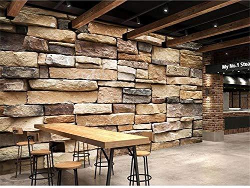 Cucsaistat Tapeten-Gewohnheitswandbild-Wohnzimmer Klassische Retro- Alte Steinbacksteinmauer 3D Malereibarsofa-Hintergrundtapete