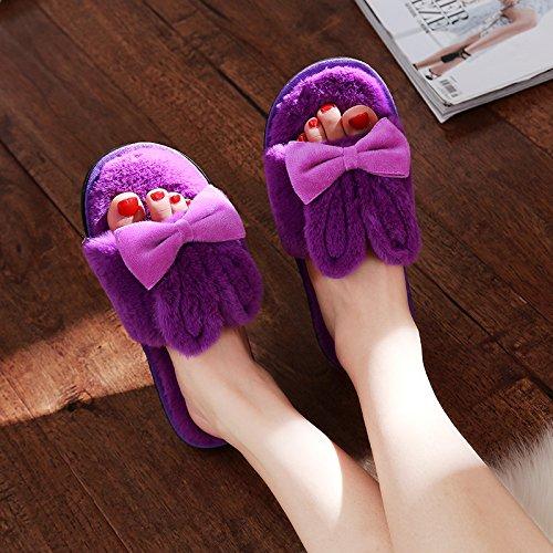DogHaccd pantofole,In inverno il cotone pantofole cartoon femmina incantevole spessi e morbidi coppie interni home pantofole inverno Home La porpora2