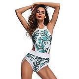 LuckyGirls Damen Monokini Push up ausgeschnitten Badeanzug Gedruckte Blätter Hohe Taille Bikini Padded Beachwear One Piece Swimsuit (Mehrfarbig, S)