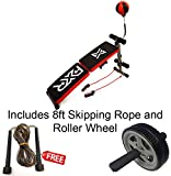 FXR Sports Foldable Sit Up Bench With Boxing Ball, Dumbbells & Resistance Straps FREE Ab Roller & Skipping Rope