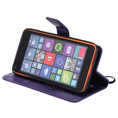Nokia Lumia N640 Case, Embossing gepresst Blumen Katze und Baum Muster Solid Color PU-Leder Tasche weichen Silikon-Cover Flip-Stand Geldbörse mit Lanyard Tasche für Nokia N640 ( Color : 11 , Size : No 3