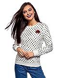 oodji Ultra Damen Bedrucktes Baumwoll-Sweatshirt, Weiß, DE 38 / EU 40 / M