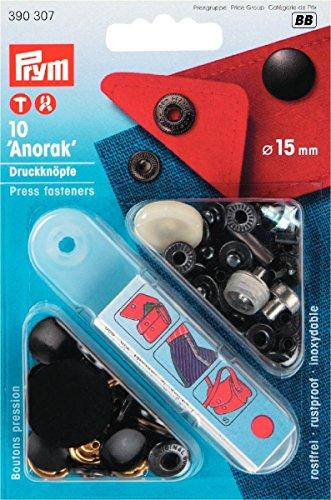 Prym 390307 NF-Druckknopf Anorak MS 15 mm, schwarz