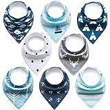 Bavoir bandana Lot de 8PCS Bavoir de Mode Bavoir Naissance Protéger les Vêtement des Bébés Bavoir Triangle Bavette Pour Bébé Bandana Enfant Bébé Fille et Garçon