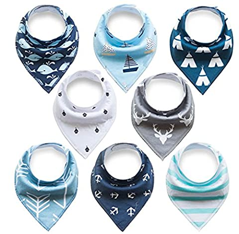 Bestbaby Baby Bandana Dribble Bibs with Snaps 8 Packs Super Absorbent Cotton Feeding Bibs Cute Baby Gift Set for Newborns Girls Boys Infants Toddlers