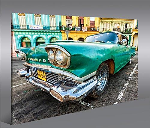 islandburner Bild Bilder auf Leinwand Taxi Cuba Havanna Kuba 1p XXL Poster Leinwandbild Wandbild Dekoartikel Wohnzimmer Marke