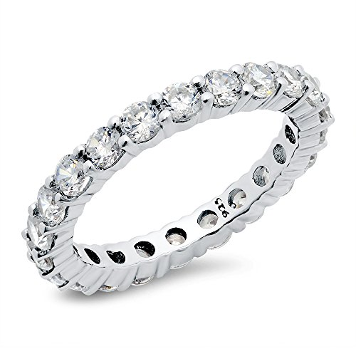 3.50MM Sterling Silver 925 Cubic Zirconia CZ Eternity Engagement Wedding Band Ring