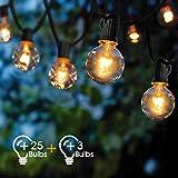 Guirlande Lumineuse Intérieur et extérieur,VIFLYKOO Guirlande Guinguette Equipé de 25 Ampoules+3 Ampoules étanche G40 Blanc Chaud ampoule Décoration pour Patio, Café, Jardin, Parti,De noël,Vacances