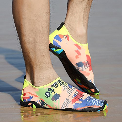 JACKSHIBO Herren Damen Barfuß Wasserschuhe Strandschuhe Unisex Atmungsaktiv Schwimmschuhe Aquaschuhe Surfschuhe Mehrfarbig