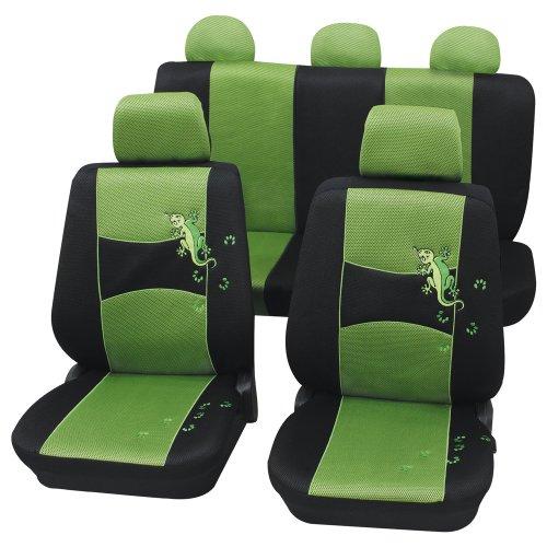 Preisvergleich Produktbild Cartrend 60222 Gecko Mesh Sitzbezug-Komplettset, Grün, mit Dokunaht