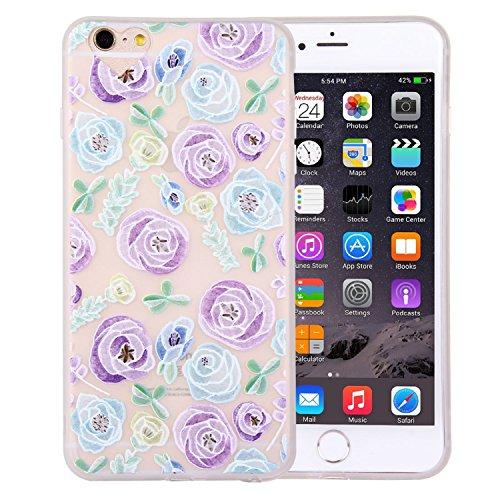 iPhone 6 Crystal Case Durchsichtig TPU Blumen orange / weiß Hülle – Blümchen Case Optik Schutzhülle Abstrakt Transparent Muster Design – MOVOJA – Blumen-orange-weiß-braun Rosen