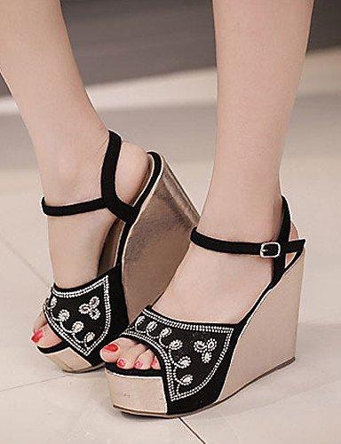 UWSZZ IL Sandali eleganti comfort Scarpe Donna-Sandali-Formale / Casual-Zeppe / Spuntate / Plateau-Zeppa-Finta pelle-Nero / Rosa Black