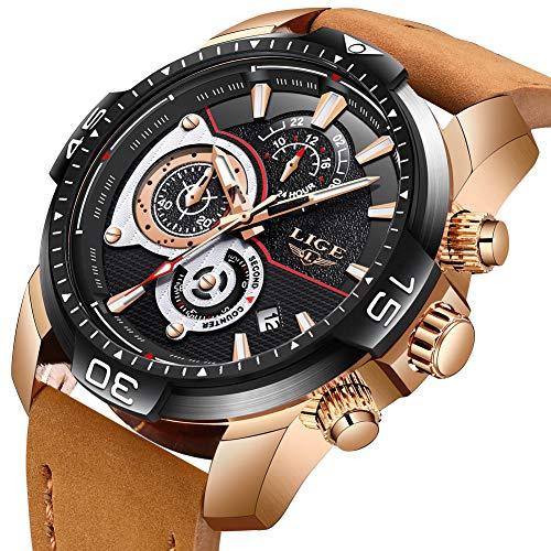 Lige orologi da uomo moda impermeabile militare cronografo analogico quarzo marrone cinturino in pelle orologi nero