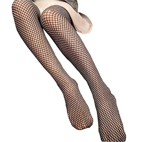 Damen Netzstrumpfhose, OverDose Frauen Rüsche Fischnetz über Knie Hohe Socken Mesh Spitze Fisch Netz Socken (A) (Solid Color Knie-socken)